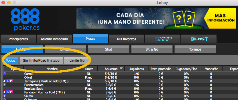 Poker con límite, sin limite y pot limit